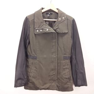 H&M Olive green&faux leather jacket Size 8